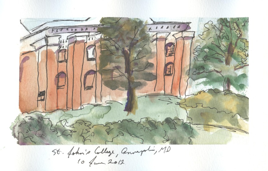 Watercolor, graphite and ink sketch, St. John's College