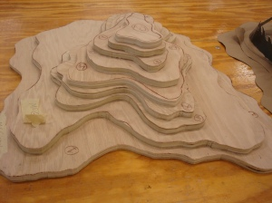 Preliminary base construction. Gluing, peg and doweling, sanding and contouring would soon be done.